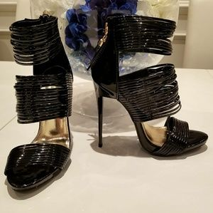 Black patent leather high heeled sandal